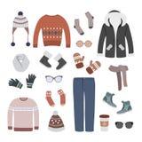 Grupo colorido de roupa moderna e à moda das mulheres do inverno ilustração royalty free