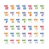 grupo colorido de tipo de arquivo ícones ícone do formato de arquivo ajustado na cor Imagens de Stock Royalty Free
