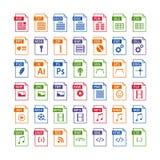 grupo colorido de tipo de arquivo ícones Grupo do ícone do formato de arquivo Fotos de Stock Royalty Free