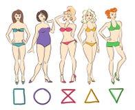 Grupo colorido de tipos da forma do corpo fêmea ilustração stock