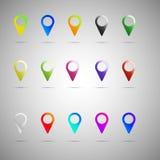 Grupo colorido do ícone do ponteiro do mapa Coleção dos elementos do projeto do vetor Fotografia de Stock