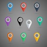 Grupo colorido do ícone do ponteiro do mapa Coleção dos elementos do projeto do vetor Foto de Stock