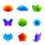 Grupo colorido do ícone do vetor da natureza Fotografia de Stock Royalty Free