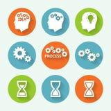 Grupo colorido do ícone dos processos, projeto liso Ilustração do vetor Imagens de Stock Royalty Free