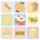 Grupo colorido do alimento de café da manhã Fotografia de Stock