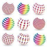 Grupo colorido do sumário de bolas ilustração stock