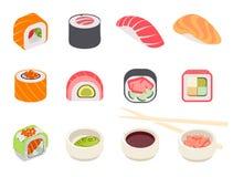 grupo colorido do sushi ilustração stock