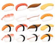 Grupo colorido do sushi da coleção do rolo de sushi de tipos diferentes hashis e bacias ilustração royalty free