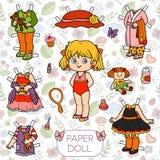 Grupo colorido do vetor, boneca de papel e roupa Fotografia de Stock Royalty Free