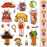 Grupo colorido do vetor, boneca de papel e roupa Fotos de Stock Royalty Free
