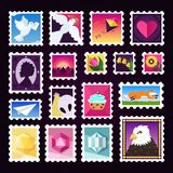 Grupo colorido do vetor dos selos postais ilustração stock