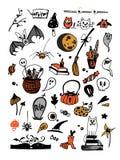 Grupo colorido do vetor grande com os elementos de Dia das Bruxas, incluindo abóboras, cogumelos, doces, crânios, bastões, veneno ilustração royalty free