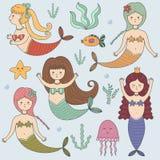 Grupo colorido engraçado com sereias bonitos Imagens de Stock Royalty Free