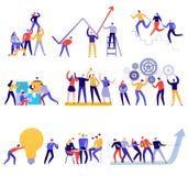 Grupo colorido liso dos trabalhos de equipe ilustração royalty free