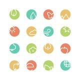 Grupo colorido natureza do ícone Foto de Stock Royalty Free