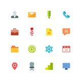 Grupo colorido plano do ícone do negócio Fotografia de Stock