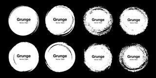 Grupo colorido tirado m?o do esbo?o da escova do c?rculo Garatujas circulares do grunge do vetor para o elemento do projeto da ma ilustração do vetor