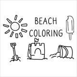 Grupo colorindo do motivo da ilustra??o do vetor dos desenhos animados da p?gina do dia bonito da praia do ver?o Castelo de areia ilustração do vetor