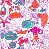 Grupo com o mar vivo, grupo dos desenhos animados do vetor Foto de Stock Royalty Free