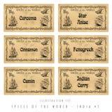 Etiquetas ajustadas da especiaria da ilustração, India #1 Imagem de Stock Royalty Free