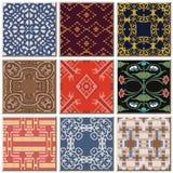 Grupo combinado da coleção do teste padrão retro antigo oriental do azulejo ilustração stock