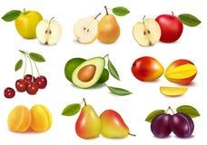 Grupo con diversas clases de fruta. Imagen de archivo libre de regalías