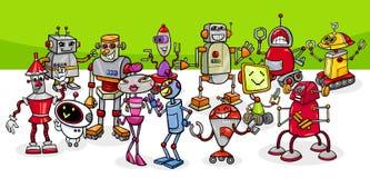 Grupo conceptual de los caracteres de la fantasía de los robots de la historieta libre illustration
