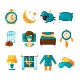 Grupo conceptual do ícone de sono Símbolos do vetor do sono saudável ilustração stock