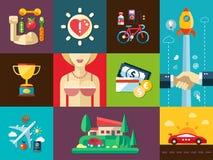 Grupo ícones das coisas dos homens lisos modernos do projeto de bons Imagens de Stock