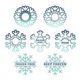 Grupo congelado do ícone do produto Etiquetas congeladas do empacotamento de alimento ilustração stock