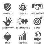 Grupo contínuo do ícone da responsabilidade social ilustração stock