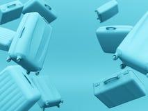 Grupo copyspace colorido do conceito das malas de viagem azuis da cor de mono 3d rendem Fotos de Stock