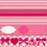 Grupo cor-de-rosa do álbum de recortes Fotografia de Stock