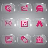 Grupo cor-de-rosa do ícone da ilustração Fotos de Stock