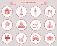 Grupo cor-de-rosa do ícone dos elementos do casamento Fotografia de Stock Royalty Free
