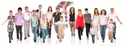 Grupo corriente de la gente en blanco Foto de archivo