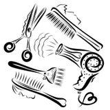 Grupo criativo de artigos para um cabeleireiro ilustração stock