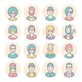 Grupo criativo de avatars redondos linhas finas Vetor Imagens de Stock