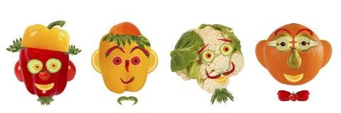 Grupo criativo de conceito do alimento Alguns retratos engraçados do vegeta Imagem de Stock Royalty Free
