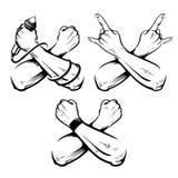 Grupo cruzado do vetor da rocha das mãos ilustração do vetor