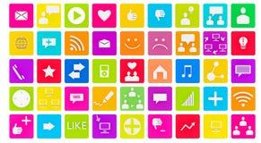 grupo 3d de ícones sociais dos meios Imagem de Stock