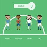 Grupo D dos jogadores de futebol ilustração royalty free