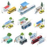 Grupo 3D isométrico do transporte público da cidade ilustração do vetor