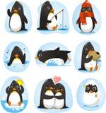 Grupo da ação dos desenhos animados do pinguim Fotografia de Stock