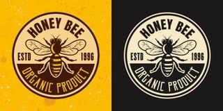 Grupo da abelha do mel de emblema colorido do vetor de dois estilos ilustração stock