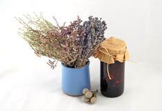 Grupo da alfazema, do sábio e do Kermek no vaso roxo ao lado de um frasco Imagens de Stock Royalty Free