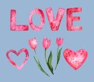Grupo da aquarela de elementos para o dia do ` s do Valentim ilustração royalty free