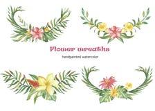 Grupo da aquarela de grinaldas e de composições com flores e as plantas tropicais ilustração royalty free