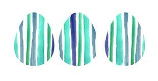 Grupo da aquarela de três ovos textured azuis ilustração royalty free
