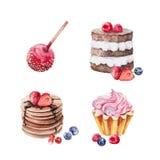 Grupo da aquarela do bolo das sobremesas ilustração stock